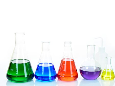 Laboratory glassware with colorful chemical reagent