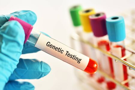 Test tube with blood sample for genetic testing