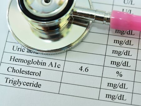 HbA1c test result with stethoscope, diabetes diagnosis