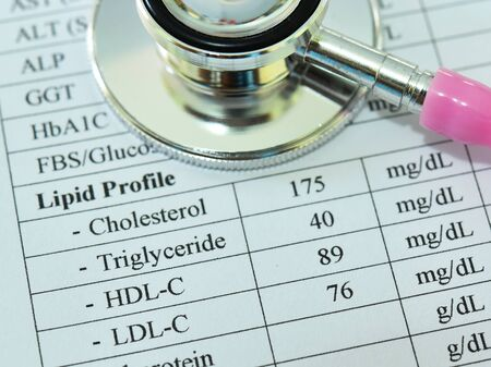 Normal lipid profile result with stethoscope