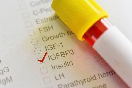 Blood sample tube for IGFBP3 test