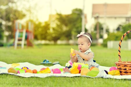 Cute Asian baby playing with toys in playground