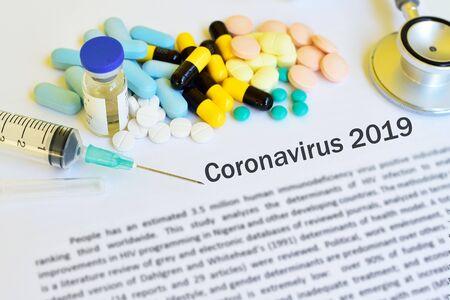 Drugs for novel coronavirus or 2019-nCoV treatment Stock Photo
