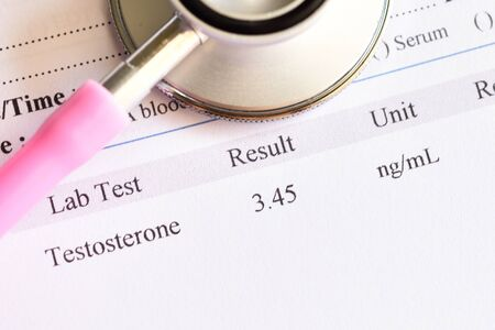 Normal testosterone hormone test result with stethoscope