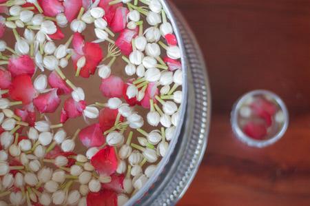 corolla: jasmine and rose corolla in bowl