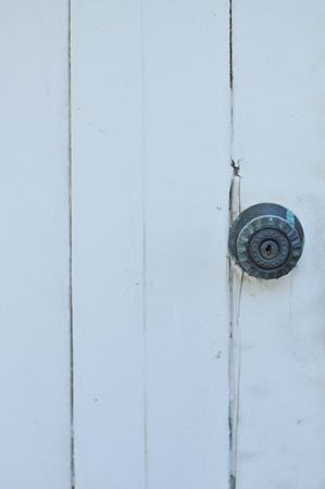 door handle: Door handle keyhole on white wood door