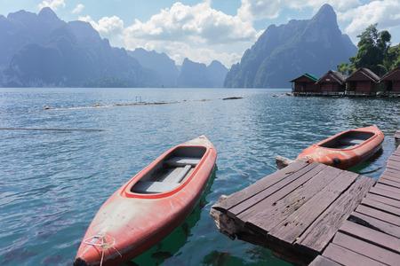 canoe in Ratchaprapha dam, Surat Thani, Thailand. Stock Photo