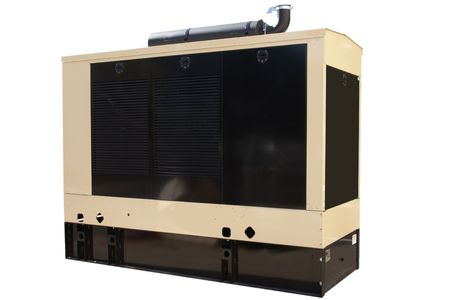 Industrial-sized backup power generator that has been isolated. photo