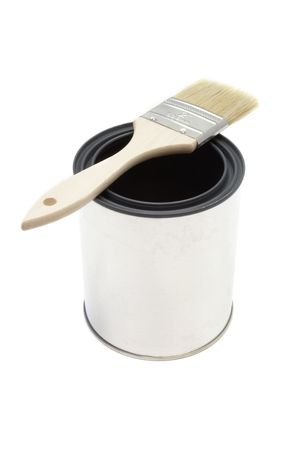 New paint brush and bucket Stok Fotoğraf