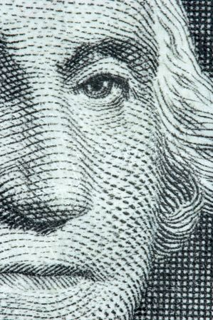 pricey: Macro of Washington on the US One Dollar Bill Stock Photo