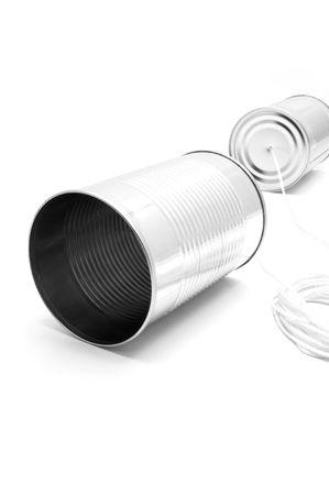 """tin cans: """"Telefoon"""" gemaakt van blikjes en strijkorkest Stockfoto"""
