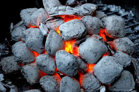 Glowing coals in a barbeque grill Stock Photo - 521395