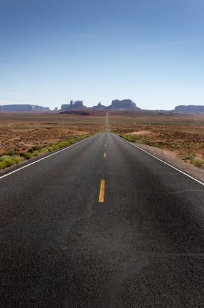 Long desert highway in Utah, US