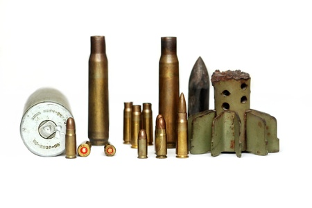 Diferent ammo on isolated white background photo