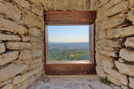 View through the window of a medieval castle in Srebrenik, Bosnia and Herzegovina Stock Photo - 16983755