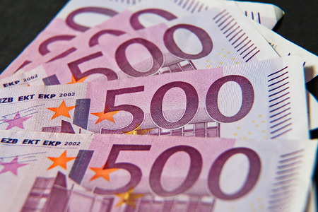 expires: Five hundred Euros, European bank withdraws five hundred banknotes. Stock Photo
