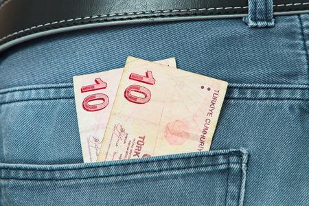 turkish lira: Turkish Lira in jeans pocket