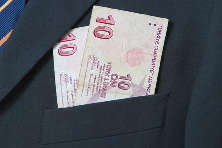 lira: Turkish Lira in the pocket of a suit Stock Photo