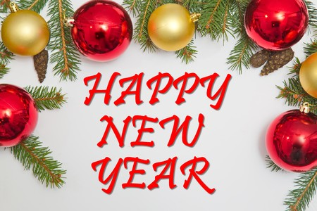 Christmas decoration with text HAPPY NEW YEAR Stock Photo