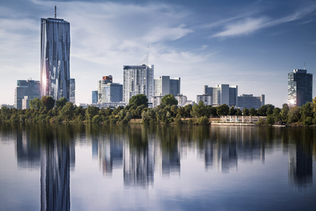 cityscape: View of Vienna financial district cityscape with Danube river