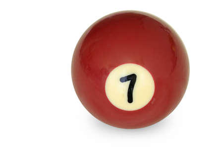 Pool ball number 7 on white Stock Photo
