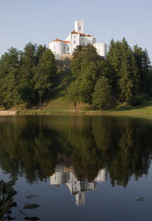 clear path: Trakoscan castle on lake with reflection