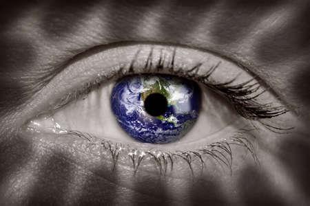 Earth in a womans eye