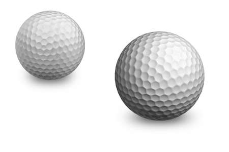 Two golf balls isolated on white