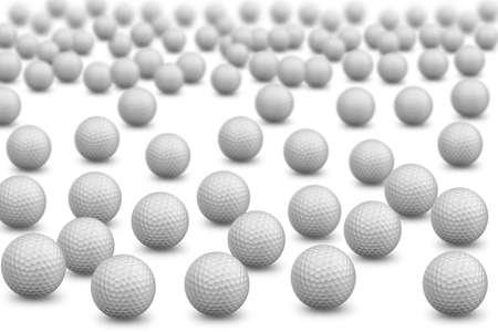 Bunch of golf balls on white