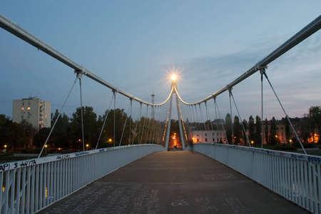 Pedestrian bridge over river Sava in Osijek, Croatia Stock Photo