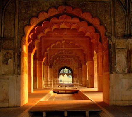 mughal: Mughal Royal Corridor, Redfort, NewDelhi Stock Photo