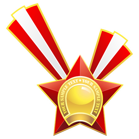Red star medal. Stock Vector - 6477922