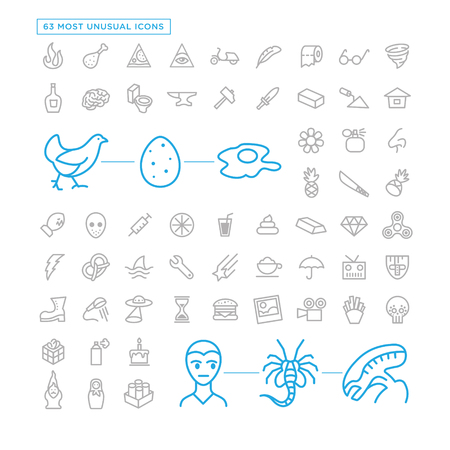 Most unusual icon set. 63 icons