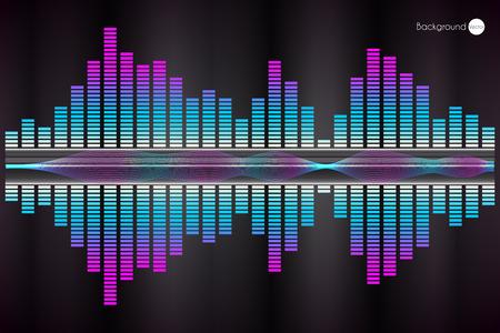 Schallwelle. Vector Illustration eines blauen Musik-Equalizer.