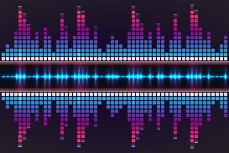 Onda sonora. Illustrazione vettoriale di un equalizzatore musicale blu.
