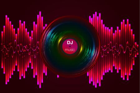 Sound wave. Vector Illustration of a blue music equalizer. 일러스트