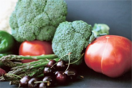 Broccoli,asparagus, tomatoe, cherries