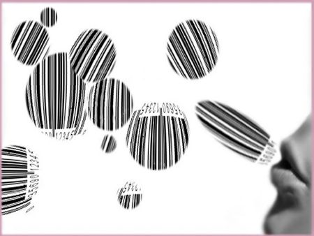 Concept, mouth blowing barcode bubbles