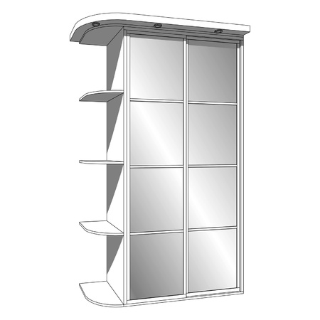 Wardrobe with sliding-door and recessed luminaires
