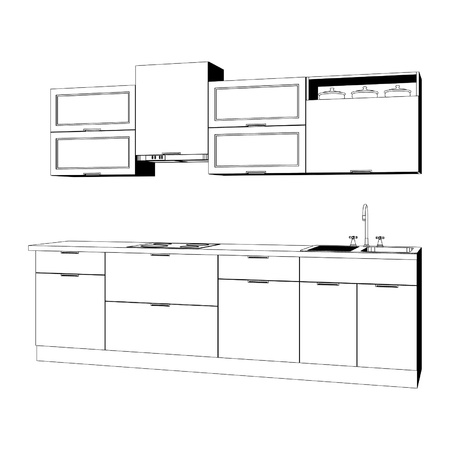 cupboards: Kitchen furniture set – sketch black-and-white Illustration