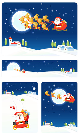 Vector bakground set: Santa 2 Stock Vector - 3621832