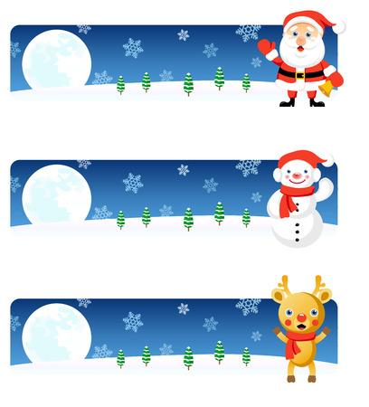 Vector Christmas banners: Santa, Snowman, Rudolph Stock Vector - 3621820