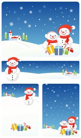 Vector Christmas banners: Snowman Stock Vector - 3621827