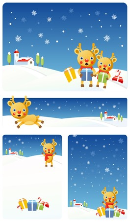 Vector Christmas banners: Reindeer Stock Vector - 3621826
