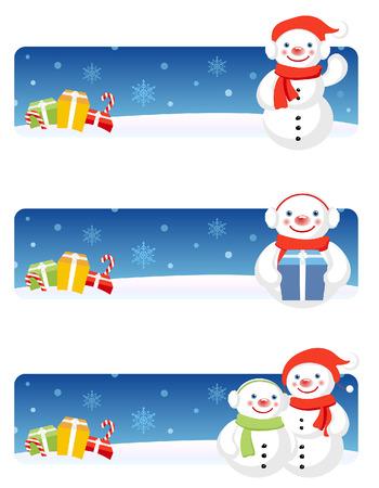 Vector Christmas banners: Snowman Stock Vector - 3621819