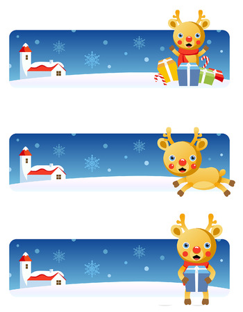 Vector Christmas banners: Reindeer Stock Vector - 3621817