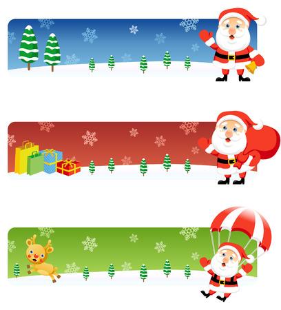 Vector Christmas banners: Santa 2 Stock Vector - 3621829