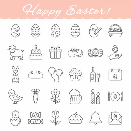 Easter outline icons set over white background