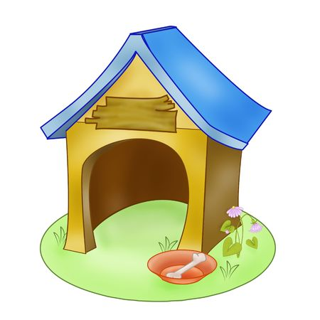 there: cartoon doghouse. there are paths of figures in the path palette Stock Photo