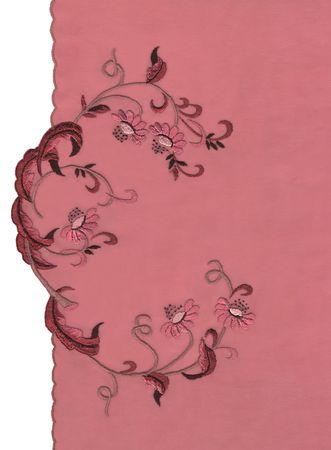gestickt: bestickt Blumen Ornament auf einer Leinwand